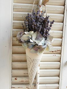 paper cone filled with lavender...home decor