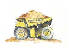 Cute Yellow Dump Truck Print 1  Boy's Room Art  by kathyjurek