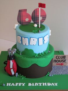 This cake was based on a design by The Designer Cake Company. 60th Birthday Cake For Men, Golf Birthday Cakes, Golf Cakes, 80th Birthday, Celebration Cakes, Birthday Celebration, Fondant, Sport Cakes, Cute Cakes