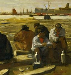 Lunchtime at the Building Site on the Van Diemenstraat in Amsterdam, George Hendrik Breitner, 1897 - Daily life (paintings) - Works of art - Explore the collection - Rijksmuseum