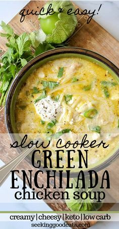 Green Enchiladas Chicken Soup (Keto Slow Cooker Mexican Soup)The best keto soup! Creamy green enchiladas chicken soup is so delicious and easy to prepare in the crockpot. Keto Slow Cooker Mexican Soup is the perfect Crock Pot Recipes, Mexican Soup Recipes, Crockpot Chicken Soup Recipes, Keto Chicken Soup, Recipes Dinner, Dessert Recipes, Rotisserie Chicken, Creamy Chicken Tortilla Soup, Healthy Chicken