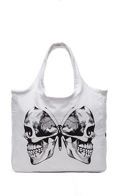 Lauren Moshi Taylor Skull Butterfly Canvas Tote in White | REVOLVE