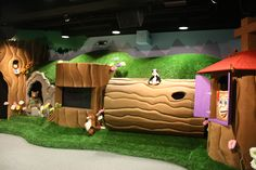 Tree Hollow Puppet Show set. Designed and built for Long Hollow Baptist Church, Hendersonville, TN. Styrofoam tree stumps and faux grass with multiple puppet holes, hill facades, and a television for music video sing alongs. IMAGINATION TRANSFORMATIONS (615)708-0818