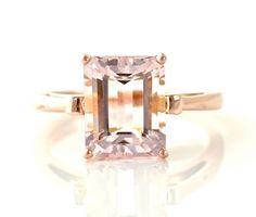 Emerald Cut Morganite Ring 14K Rose Gold Custom Gemstone Ring 14K White Yellow Rose Gold Fleur de Lis. $739.00, via Etsy.