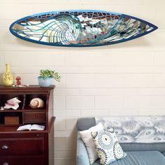 Glassd Mirror Board wave design in beach cottage