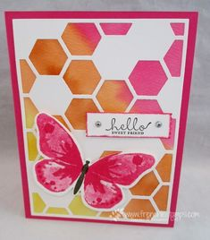 hadnmade greeting card from Stamp & Scrap with Frenchie: Hexagon Hive Thinlits and Watercolor Wings ... white with hot pink and orange .. luv the watercolor background behind the white die cut hexagon pattern ... Stampin' Up!