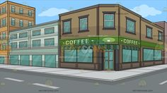 The Exterior Of A Coffee Shop Background :  An establishment located at the corner of the street with brown facade and glass windows awning and green sign that says coffee  The post The Exterior Of A Coffee Shop Background appeared first on VectorToons.com.