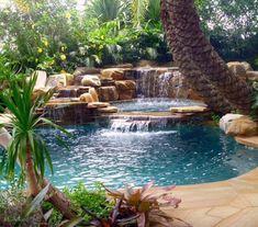 Pool with a pool spa florida pool, beautiful pools, rock waterfall, swimm. Backyard Pool Landscaping, Backyard Pool Designs, Swimming Pools Backyard, Swimming Pool Designs, Patio Design, Backyard Ideas, Swimming Pool Waterfall, Amazing Swimming Pools, Backyard Waterfalls
