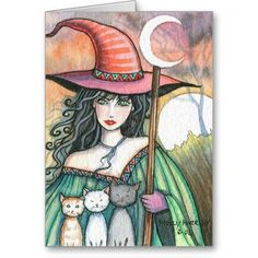 Witch and Trio Card by Molly Harrison