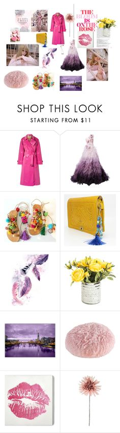 """""""ROSE"""" by eathini ❤ liked on Polyvore featuring Burberry, Marchesa, Balmain, M. Kennedy Home and Wynwood"""