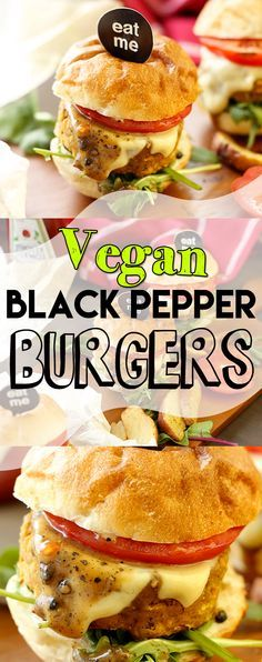 Easy to make, no fuss, healthy, delicious and satisfying Vegan Black Pepper Burgers. Flavorful veggie burgers topped with Fiery Black Pepper Sauce. #vegan #burgers #healthy #veganfood #delicious #simple