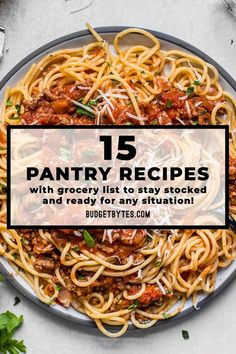 15 pantry recipes made using shelf stable and freezer ingredients with a grocery list so you can stay prepped and ready to cook in any situation! BudgetBytes.com Teriyaki Chicken And Rice, Sweet Chili Chicken, Bbq Chicken, Baked Chicken, Cooking Recipes, Healthy Recipes, Bulk Cooking, Spinach Recipes, Healthy Fats