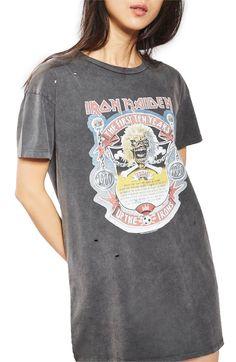 16a41e29d0a Main Image - Topshop by And Finally Iron Maiden T-Shirt Dress Shirt Dress