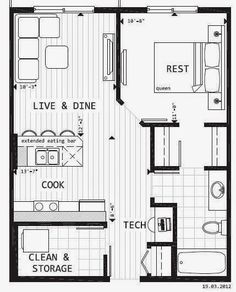 Small Apartment Kitchen Floor Plan 300 sq ft. house designs | joseph sandy » small apartments: 250