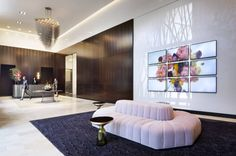 Diana Thater Commercial Design Detail by Hazen Partners Art Advisory Lobby Design, White Sofas, Floor To Ceiling Windows, Commercial Design, Luxury Apartments, Luxury Living, Portfolio Design, Contemporary Furniture, Home Furnishings