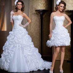 Nueva novia De Organza con gradas desmontable falda Vestido De boda elegante De dos-en-uno De boda del cordón 2015 Vestido De Noiva