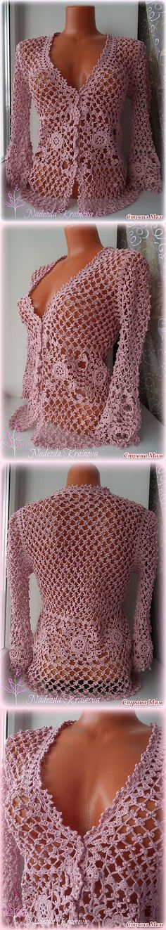 This hand knit ponchos is embellished with crochet flowers. And I dont have tutorials or crochet schema. Cardigan Au Crochet, Gilet Crochet, Crochet Jacket, Crochet Cardigan, Crochet Stitches, Knit Crochet, Knit Jacket, Crochet Tops, Crochet Crafts