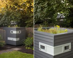 love this modern chicken coop, complete with green roof.