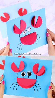 Paper Circle Crab Craft - Vorschule Kindergarten Ideen By seeing this pict. - Paper Circle Crab Craft – Vorschule Kindergarten Ideen By seeing this picture, you can get - Paper Craft Work, Paper Crafts For Kids, Paper Crafting, Easy Crafts, Creative Crafts, Decor Crafts, Button Crafts For Kids, Disney Crafts For Kids, Easy Diy