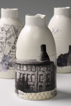 """Stoke bottles by our Directory Maker of the Week, Raewyn Harrison (photo: Paul Tucker) """"The materials I work with come from Stoke on Trent. On a trip to replenish my supplies and visit the closed Spode factory, I took the opportunity to search out and photograph the remaining bottle kilns. Collaged panoramas celebrate Stokes early industrial past.""""  http://ccuk.cc/23k #ccdirectory #craft #ceramic #pottery #slipcasting #glaze"""