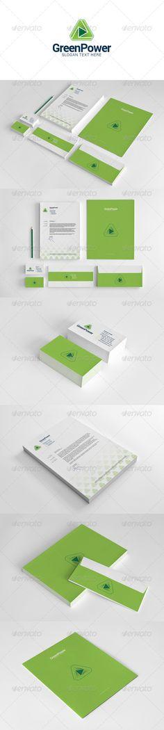◒ [GET]○ Green Power Stationery Bio Biology Business Button Clean Consciousness Corporate Logo Design, Brand Identity Design, Corporate Identity, Brochure Design, Branding Design, Power Logo, Presentation Folder, Stationary Design, Letterhead