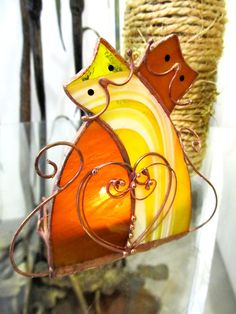 Stained glass candle holder Cats Love. Handmade by solandmary
