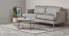 Nyla coffee table: Featuring a round silhouette and angled copper legs, this contemporary coffee table creates a flow of conversation and brings good vibes. Coffee Table, Live Edge Coffee Table, Table, Table Design, Furniture Design, Modular Coffee Table, Living Room Plan, Cool Coffee Tables, Home Decor
