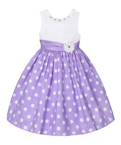 Love this Lilac & White Polka Dot Dress - Girls by American Princess on #zulily! #zulilyfinds