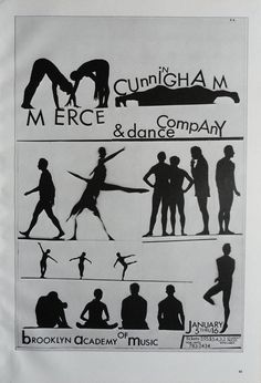 Vintage Dance Poster, Merce  Cunningham Dance Company Brooklyn, Dance Theatre Of Harlem, Black And White, Print,  Jack Rennert, USA