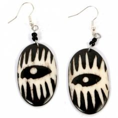 Bone Earrings with black and white mask pattern at the Shopping Mall on Facebook.   Handmade in Kenya.  #Fairtrade #Earrings #Recycled #Handmade #Recycled