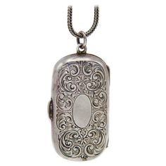 Antique Victorian Sterling Silver Coin-Holder Locket 1880's  | From a unique collection of vintage more objets d'art and vertu at https://www.1stdibs.com/jewelry/objets-dart-vertu/more-objets-dart-vertu/