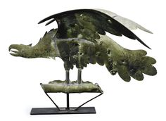 RARE MOLDED AND SHEET COPPER AMERICAN EAGLE WEATHERVANE, probably A.L. Jewell & Co., Waltham, Massachusetts circa 1860.