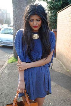 blue dress + gold collar necklace