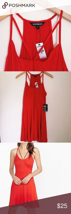 Cut Out V-Neck Red Skater Dress So soft and flowy! This gorgeous red knit skater dress is simple yet elegant with some added flare. Strappy and cute. Perfect for summer or fall paired with a light jacket and some tights ❤️. Brand new with tags, never worn. Express Dresses Mini