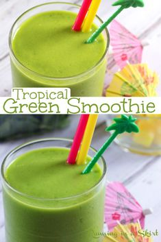 Whole Foods Smoothies, Smoothies For Kids, Healthy Green Smoothies, Easy Smoothies, Fruit Smoothies, Island Green Smoothie Recipe, Tropical Smoothie Recipes, Jamba Juice Tropical Greens Recipe, Low Calorie Smoothie Recipes