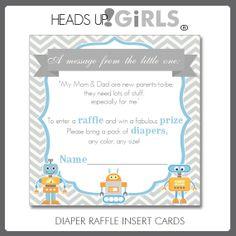 Digital Printable Blue Robots Baby Shower Diaper Raffle Cards Chevrons on Etsy, $8.00