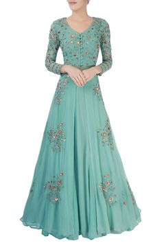 Shop Astha Narang Green thread work lehenga , Exclusive Indian Designer Latest Collections Available at Aza Fashions Indian Gowns Dresses, Pakistani Dresses, Indian Wedding Outfits, Indian Outfits, Indian Designer Outfits, Designer Dresses, Stylish Dresses, Fashion Dresses, Ethnic Dress