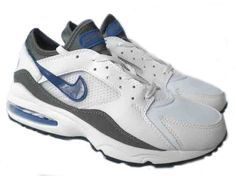 quality design d9be4 86aee Danmark Billige Nike Air Max 93 Trainers Mænd - WhiteLeaden GreyBlue Logo