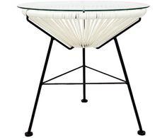 Retro Tisch Bahia, Geflecht: Weiß, Gestell: Schwarz pulverbeschichtet