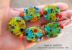 Modern Art Glass Set of 5 free shaped focal beads by michoudesign
