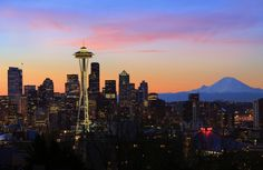 """Seattle Dawn"" by Inge Johnsson, Frisco (Dallas/Fort Worth area) // Seattle skyline at dawn on a winter day in February // Imagekind.com -- Buy stunning, museum-quality fine art prints, framed prints, and canvas prints directly from independent working artists and photographers."