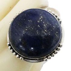 Silver Tone Brass Adjustable Ring In Lapis Lazuli Stone Fashion Indian Jewelry