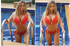 HOLLY HELL! Holly Hagan shows off her impressive bikini body on a break from intense training at Thai fitness school
