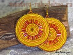 Master class on embroidery with beads: Solar earrings