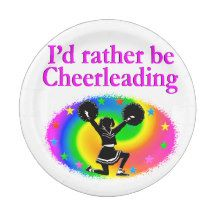 CUTE AND COLORFUL CHEERLEADING DESIGN 7 INCH PAPER PLATE http://www.zazzle.com/mysportsstar/gifts?cg=196898030795976236&rf=238246180177746410   #Cheerleading #Cheerleader #Cheerleadinggifts #Cheerleadergift #loveCheerleading #BowtoToe