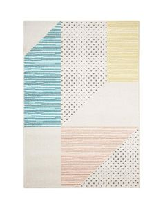 Oversized Geo Pastel Rug - 80 x 150 cm Perfect for when they get a little bit older and want a room refresh, this cool rug brings a touch of Scandi-style to their space. Measuring 80 x 150 cm, it features an oversized geometric print in a range of soft pastel tones. Strong and durable, it's designed for bedrooms and playrooms, and it's easy to look after too.Depth: 1.5 MMHeight: 150 CMMaterial Content: 100% Polypropylene PileWashing Instructions: Shampoo surface onlyWidth: 80 CMDesign Type…