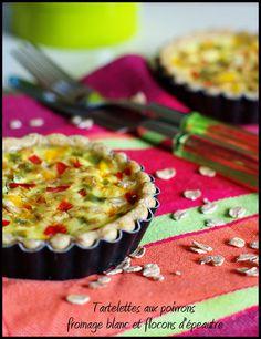 Tartelettes crousti-fondantes aux poivrons, fromage blanc et flocons d'épeautre #recette #tarte #fromage #facile