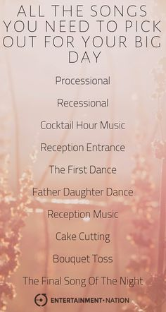 All the songs you need to pick out for your wedding day. Wedding Song List, Wedding Playlist, Wedding Music, Wedding Wishes, Wedding Planning Tips, Wedding Tips, Our Wedding, Dream Wedding, Event Planning