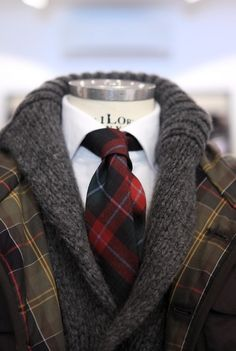 Tartan tie, Barbour jacket and a sweater.