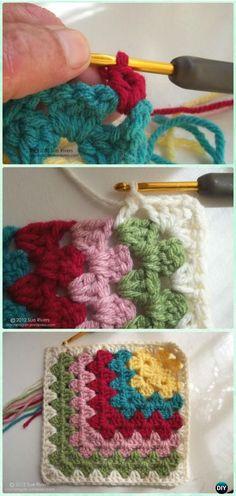 Crochet Mitered Granny Square Blanket Free Patterns #Crochet